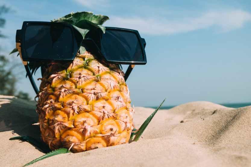 pineapple, beach, sunglasses