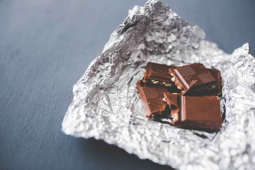 chocolate, tin foil